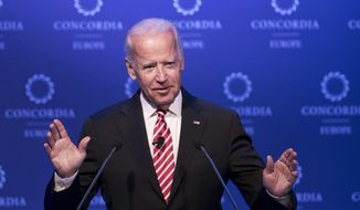 FILE- In this June 7, 2017, file photo, former U.S. Vice President Joe Biden speaks during a conference in Athens. Biden is tiptoeing toward a potential run in 2020, even broaching the possibility during a recent gathering of longtime foreign policy aides. Huddled his newly opened office steps from the U.S. Capitol, Biden opened a planning meeting for his new diplomacy center by addressing the elephant in the room. He said he was keeping his 2020 options open, considering it a real possibility.   (AP Photo/Petros Giannakouris, File)