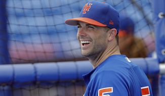 "FILE - This March 27, 2017 file photo shows New York Mets third baseman David Wright (5) waiting for his turn in the batting cage during batting practice before a spring training baseball game against the Washington Nationals in Port St. Lucie, Fla. The big question surrounding David Wright is the one that even he can't answer. Can he play this season? The New York Mets captain and third baseman says he will give it his ""best shot."" The 35-year-old Wright has had had back and shoulder operations and says his health is his ""biggest hurdle.""  (AP Photo/John Bazemore)"