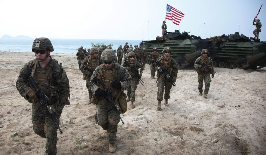 U.S. Marines join in an ongoing U.S.-Thai joint Cobra Gold U.S.-Thai joint military exercise on Hat Yao beach in Chonburi province, eastern Thailand, Saturday, Feb. 17, 2018. Approximately 11,000 military personnel from the  U.S., Thailand, and South Korea are taking part in the annual drill. (AP Photo/Sakchai Lalit) **FILE**