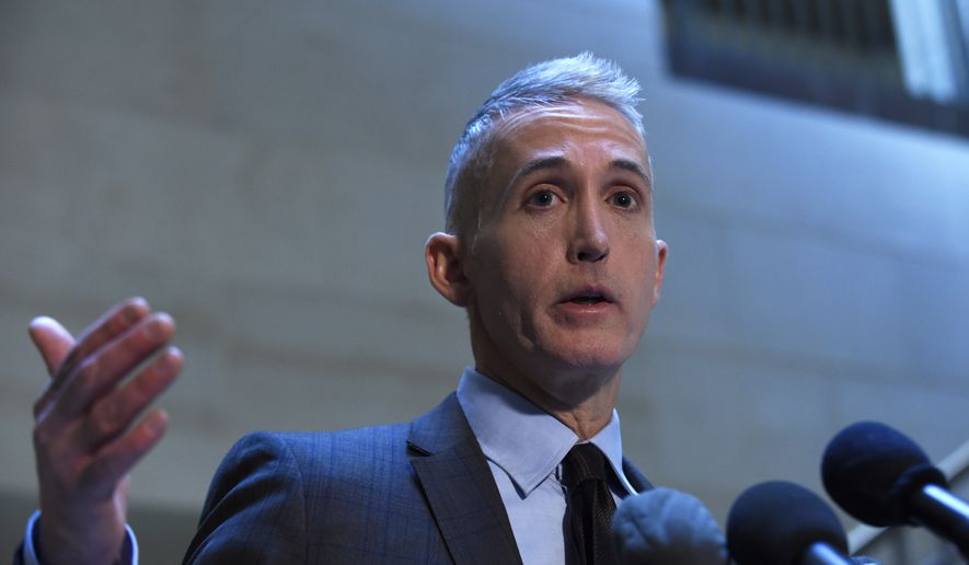 In this Jan. 6, 2016, file photo, Rep. Trey Gowdy, R-S.C., speaks to reporters on Capitol Hill in Washington. (AP Photo/Susan Walsh, File)