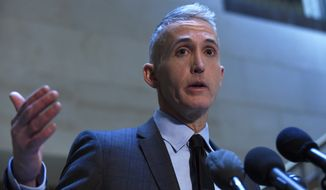 In this Jan. 6, 2016 file photo, House Benghazi Committee Chairman Rep. Trey Gowdy, R-S.C. speaks to reporters on Capitol Hill in Washington. (AP Photo/Susan Walsh, File)