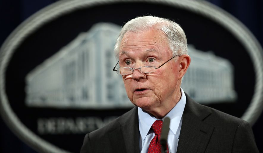 Attorney General Jeff Sessions speaks during a news conference at the Justice Department in Washington, Friday, Dec. 15, 2017, about efforts to reduce violent crime. (AP Photo/Carolyn Kaster)