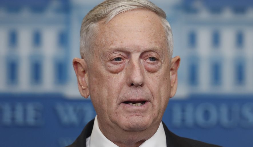 Defense Secretary Jim Mattis speaks during the daily news briefing at the White House, in Washington, Wednesday, Feb. 7, 2018. (AP Photo/Carolyn Kaster) ** FILE **