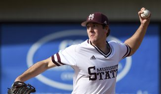 Mississippi State pitcher Zach Neff throws the ball during the bottom of the sixth inning against Southern Mississippi in an NCAA college baseball game in Hattiesburg, Miss., Sunday, Feb. 18, 2018. (Susan Broadbridge/Hattiesburg American via AP)