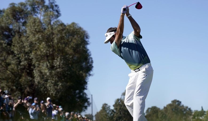 Bubba Watson tees off on the second hole during the final round of the Genesis Open golf tournament at Riviera Country Club Sunday, Feb. 18, 2018, in the Pacific Palisades area of Los Angeles. (AP Photo/Ryan Kang)