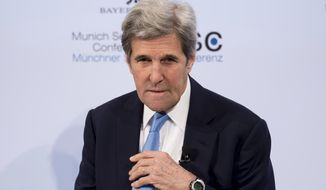 Former U.S. Secretary of State, John Kerry attends the Security Conference in Munich, Germany, Sunday, Feb. 18, 2018. (Sven Hoppe/dpa via AP) ** FILE **