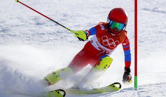 Kim Ryon-Hyang, of North Korea, skis during the first run of the women's slalom at the 2018 Winter Olympics in Pyeongchang, South Korea, Friday, Feb. 16, 2018. (AP Photo/Jae C. Hong)