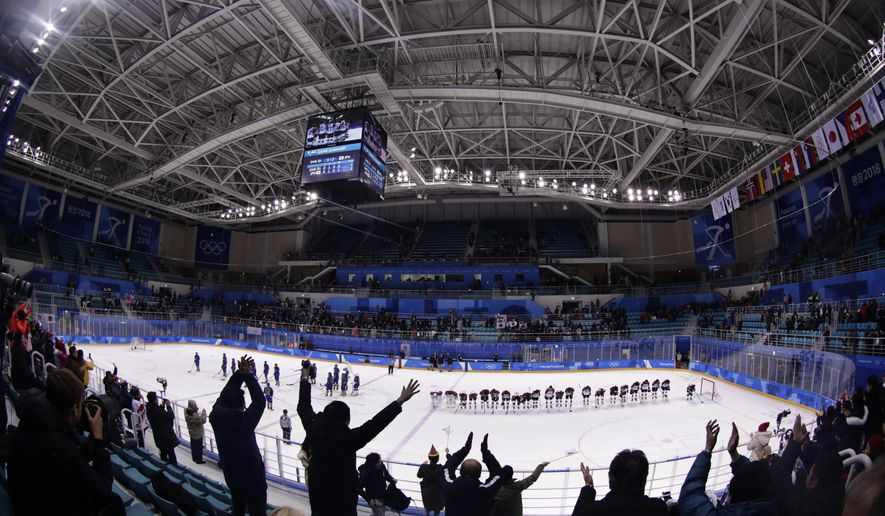 Fans cheer after the classification round of the women's hockey game between Japan, right, and Sweden, left at the 2018 Winter Olympics in Gangneung, South Korea, Sunday, Feb. 18, 2018. (AP Photo/Frank Franklin II)