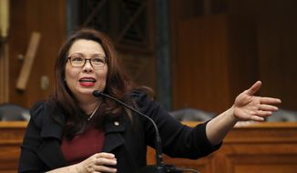 In this Feb. 14, 2018, photo, Sen. Tammy Duckworth, D-Ill., speaks to Goldman Sachs 10,000 Small Businesses Summit, on Capitol Hill, in Washington. (AP Photo/Alex Brandon) ** FILE **