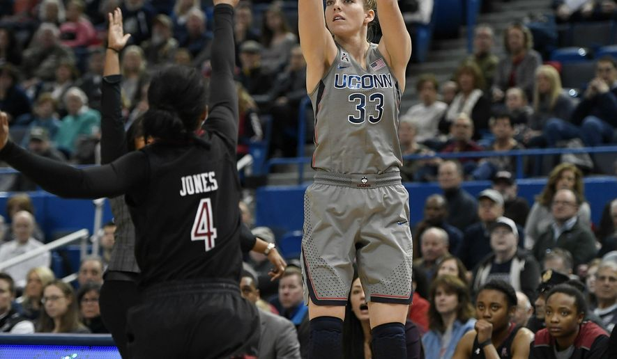 Connecticut's Katie Lou Samuelson, right, shoots over Temple's Mykia Jones during the first half an NCAA college basketball game, Sunday, Feb. 18, 2018, in Hartford, Conn. (AP Photo/Jessica Hill)