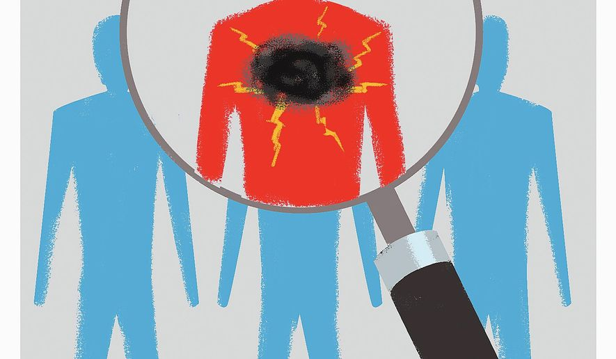 Illustration on the need for clearer scrutiny and vetting for firearm purchases by Linas Garsys/The Washington Times