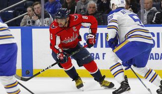 Buffalo Sabres defenseman Rasmus Ristolainen (55) defends against Washington Capitals forward Alex Ovechkin (8) during the first period of an NHL hockey game, Monday, Feb. 19, 2018, in Buffalo, N.Y. (AP Photo/Jeffrey T. Barnes)