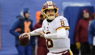 FILE - In this Dec. 31, 2017, file photo, Washington Redskins quarterback Kirk Cousins (8) throws a pass during the first half of an NFL football game against the New York Giants, in East Rutherford, N.J. The NFL's offseason features plenty of intrigue beyond where Kirk Cousins and dozens of other quarterbacks will land.  (AP Photo/Bill Kostroun, File)