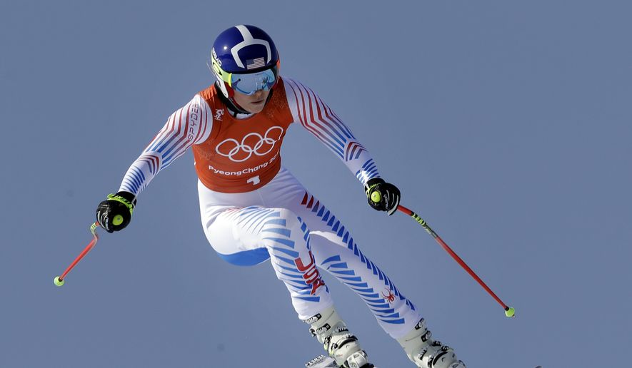 United States' Lindsey Vonn competes in women's downhill training at the 2018 Winter Olympics in Jeongseon, South Korea, Tuesday, Feb. 20, 2018. (AP Photo/Luca Bruno)