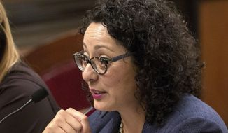In this June 22, 2016, file photo, Assemblywoman Cristina Garcia, D-Bell Gardens, speaks at the Capitol in Sacramento, Calif. (AP Photo/Rich Pedroncelli, File)