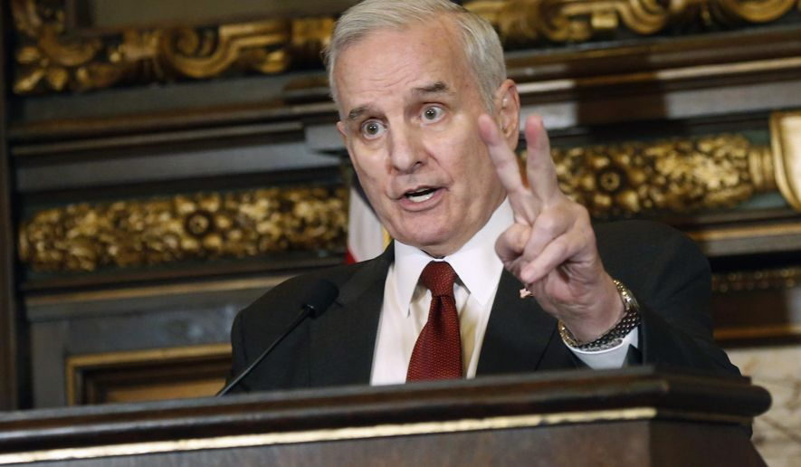 FILE - In this May 11, 2017 file photo, Minnesota Gov. Mark Dayton speaks at a news conference in St. Paul, Minn. Dayton will play a key role in shaping the legislative session when it begins on Tuesday, Feb. 20, 2018. (AP Photo/Jim Mone, File)