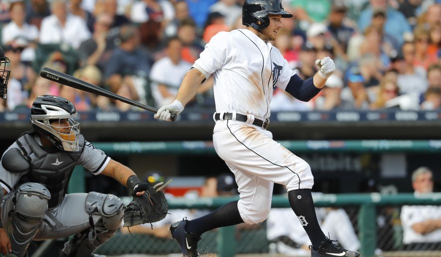 FILE - In this June 3, 2017, file photo, Detroit Tigers' Alex Presley bats against the Chicago White Sox in the sixth inning of a baseball game in Detroit. Alex Presley and the Baltimore Orioles have agreed to a minor league contract, and the outfielder will report of major league spring training. Baltimore, which announced the deal Monday, Feb. 19, 2018, had been in the market for a left-handed hitting outfielder. (AP Photo/Paul Sancya, File)