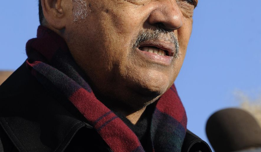 """File-This Nov. 24, 2015, file photo shows Rev. Jesse Jackson speaking to the media during a vigil for 17-year-old Laquan McDonald, who was fatally shot and killed Oct. 20, 2014 in Chicago. Jackson says he's deeply insulted by a Fox News host's """"attack"""" on Cleveland Cavaliers star LeBron James. Political commentator Laura Ingraham criticized the three-time NBA champion for his recent comments about social issues, suggesting he should """"shut up and dribble."""" Jackson says it's important for James, Stephen (STEH'-fehn) Curry, Kevin Durant and other NBA players to keep speaking out against injustice and the behavior of President Donald Trump. (AP Photo/Paul Beaty, File)"""