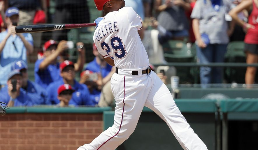 FILE - In this July 30, 2017, file photo, Texas Rangers' Adrian Beltre follows through on a double for his 3,000th career hit in the fourth inning of a baseball game agaionst the Baltimore Orioles, in Arlington, Texas. Beltre wants to win a World Series, so sure he would like the Texas Rangers to add some of the available free agents. But he also believes the team is good enough to compete. As important, Beltre is going into his 21st MLB season healthy. (AP Photo/Tony Gutierrez, File)