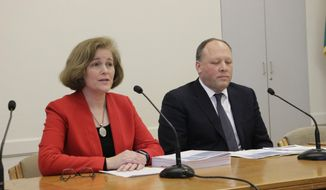 Democratic Sens. Christine Rolfes and David Frockt speak to the media about a supplemental budget proposal in Olympia, Wash. on Monday, Feb. 19, 2018. The proposal looks to use a projected state revenue increase to pay for the final component of an education spending plan. (AP Photo/Rachel La Corte)