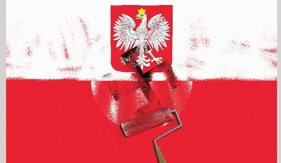 Illustration on Poland's new Holocaust law by Linas Garsys/The Washington Times