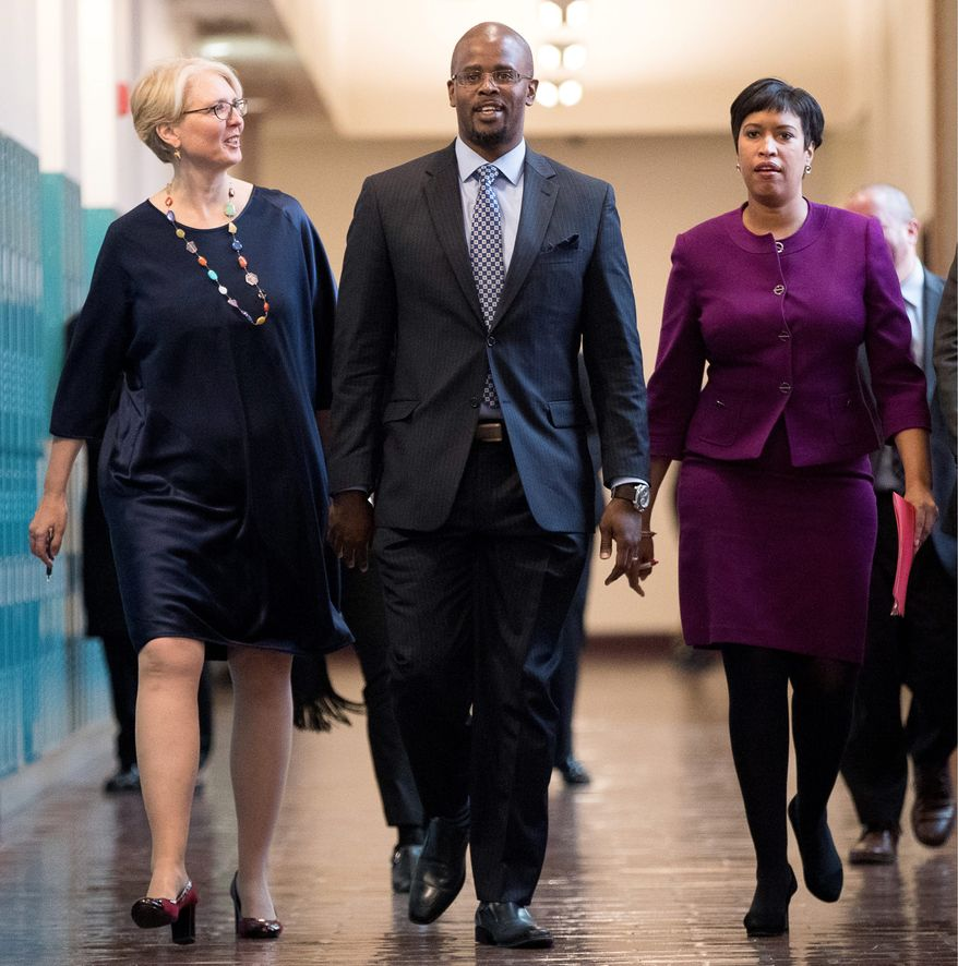 D.C. Schools Chancellor Antwan Wilson resigned from his position Tuesday. According to the Office of the Inspector General, Mr. Wilson asked his wife to speak to the deputy mayor of education about transferring their eldest daughter to Woodrow Wilson High School, which put her in the front of the waiting list. (Associated Press)