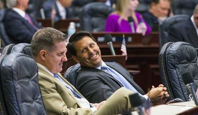 Rep. George R. Moraitis, Jr. , R- Ft Lauderdale, right, talks with Rep. Shawn Harrison, R- Tampa, during a special session of the Florida Legislature Thursday, June 8, 2017, at the Florida Capitol in Tallahassee, Fla. (AP Photo/Mark Wallheiser)