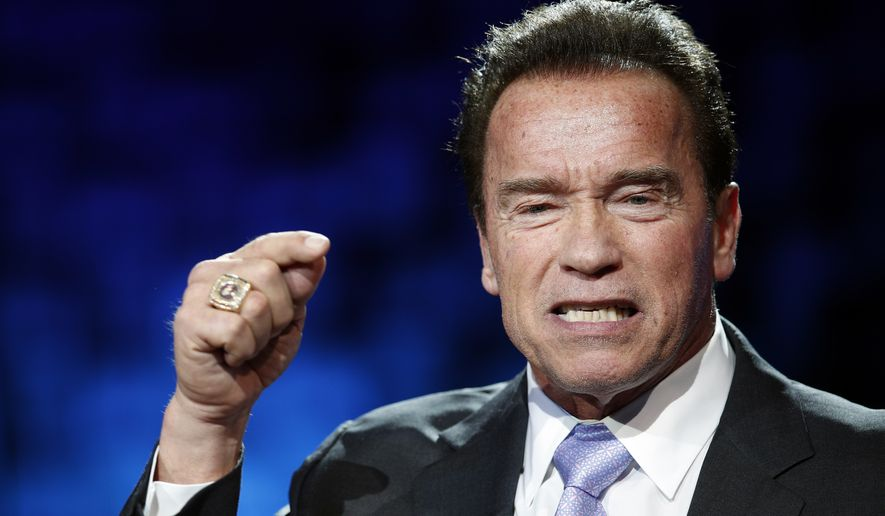 Former California Gov. Arnold Schwarzenegger delivers his speech at the One Planet Summit, in Boulogne-Billancourt, near Paris, France, Tuesday, Dec. 12, 2017. (AP Photo/Christophe Ena) **FILE**