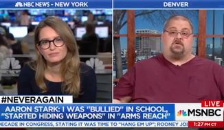 """MSNBC Live"" host Katy Tur hosted Aaron Stark, a Colorado man who says he was ""almost a school shooter"" in 1996, to respond to the horrific mass school shooting last week in Parkland, Florida, that claimed 17 lives."