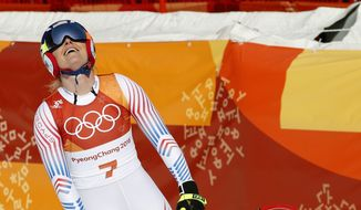 United States' Lindsey Vonn reacts in the finish area of the women's downhill at the 2018 Winter Olympics in Jeongseon, South Korea, Wednesday, Feb. 21, 2018. (AP Photo/Christophe Ena)