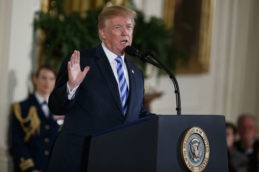 President Donald Trump speaks during the Public Safety Medal of Valor awards ceremony in the East Room of the White House, Tuesday, Feb. 20, 2018, in Washington. (AP Photo/Evan Vucci)