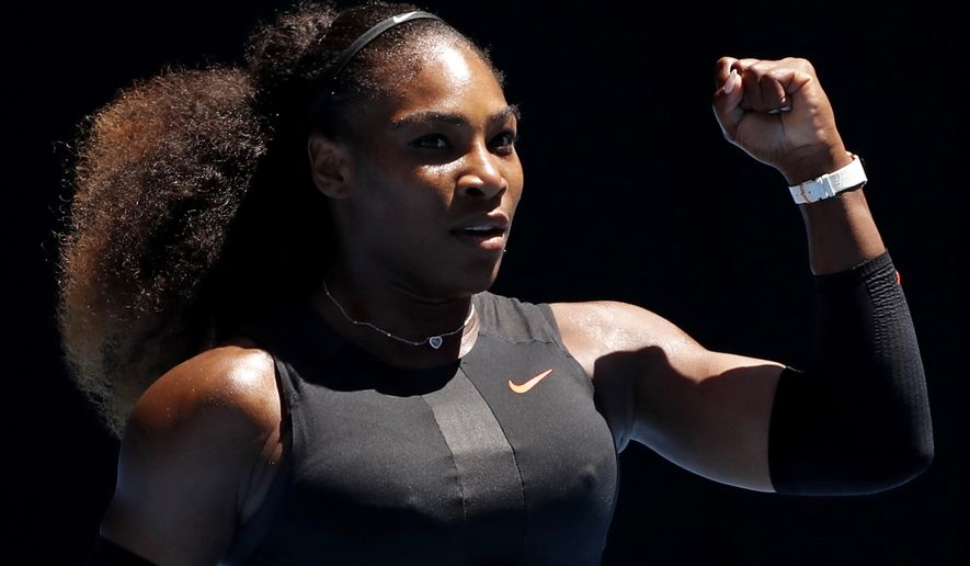 FILE - In this Jan. 25, 2017, file photo, Serena Williams gestures while playing Britain's Johanna Konta during their quarterfinal match at the Australian Open tennis championships in Melbourne, Australia. While Williams has long been an advocate of Black Lives Matter, it was only after former NFL quarterback Colin Kaepernick took a knee during the 2016 season that the country really began to pay attention to black athlete activism. (AP Photo/Dita Alangkara, File)