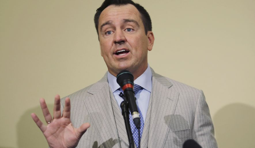 Utah House Speaker Greg Hughes speaks as during a news conference Tuesday, Feb. 20, 2018, in Salt Lake City. Hughes is backing an effort to repeal the death penalty in the state three years after lawmakers voted to reinstate the use of the firing squad as a backup execution method. (AP Photo/Rick Bowmer)