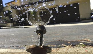 In this April 8, 2015, file photo, water runs off from a sprinkler in Mount Olympus, a neighborhood in the Hollywood Hills area of Los Angeles. Members of the state Water Resources Control Board are scheduled to decide Tuesday, Feb. 20, 2018, whether to bring back what had been temporary water bans from California's 2013-2017 drought, and make them permanent. U.S. drought monitors last week declared that a fifth of the state, all of it in Southern California, is now back in severe drought, just months after the state emerged from that category of drought. (AP Photo/Damian Dovarganes, File)