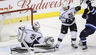 Los Angeles Kings goaltender Darcy Kuemper (35) gives up a goal to Los Angeles Kings' Patrik Laine, not seen, during the third period of an NHL hockey game Tuesday, Feb. 20, 2018, in Winnipeg, Manitoba. (Trevor Hagan/The Canadian Press via AP)