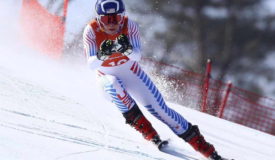 United States' Breezy Johnson competes in women's downhill training at the 2018 Winter Olympics in Jeongseon, South Korea, Tuesday, Feb. 20, 2018. (AP Photo/Alessandro Trovati)