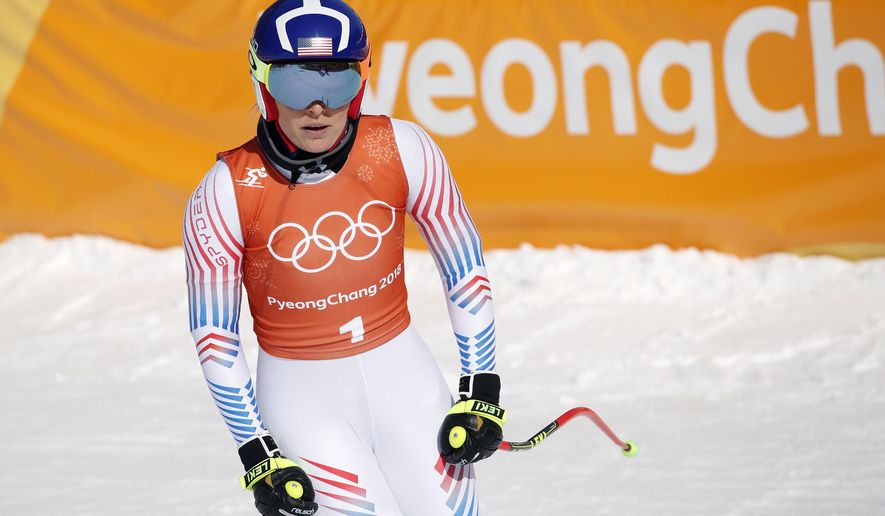 United States' Lindsey Vonn stands in the finish area after women's downhill training at the 2018 Winter Olympics in Jeongseon, South Korea, Tuesday, Feb. 20, 2018. (AP Photo/Christophe Ena)