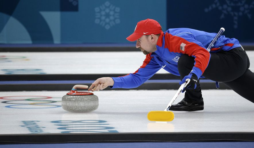In this Saturday, Feb. 17, 2018 photo curler Joe Polo, of the United States, launches the stone during practice at the 2018 Winter Olympics in Gangneung, South Korea.  Joe and Kristin Polo, both curlers, named their daughter Ailsa, after the Scottish island where the granite that makes curling rocks is mined. (AP Photo/Aaron Favila) **FILE**