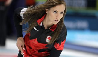Canada's skip Rachel Homan during the women's curling match against Britain at the 2018 Winter Olympics in Gangneung, South Korea, Wednesday, Feb. 21, 2018. Britain beat Canada during the game. (AP Photo/Aaron Favila)