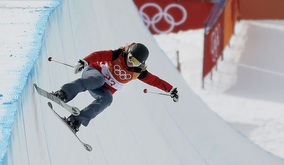Elizabeth Marian Swaney, of Hungary, runs the course during the women's halfpipe qualifying at Phoenix Snow Park at the 2018 Winter Olympics in Pyeongchang, South Korea, Monday, Feb. 19, 2018. (AP Photo/Kin Cheung) **FILE**