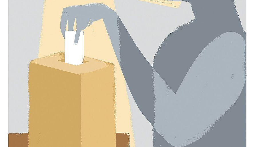 Illustration on interference in the voting process by Linas Garsys/The Washington Times