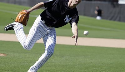 CHASEN SHREVE - New York Yankees relief pitcher Chasen Shreve does drills at baseball spring training camp, Wednesday, Feb. 14, 2018, in Tampa, Fla. (AP Photo/Lynne Sladky)