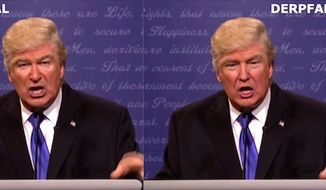 "An algorithm is used to convincingly image-swap actor Alec Baldwin and President Trump on the YouTube channel derpfakes, Feb. 19, 2018. The technology website The Next Web reported on Feb. 21 that improvements to the technology within the next two years will threaten our ""understanding of the truth."" (Image: YouTube, derpfakes)"