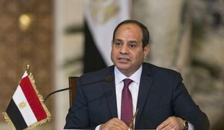 In this Dec. 11, 2017, file photo, Egyptian President Abdel-Fattah el-Sissi, speaks during a news conference in Cairo, Egypt. (AP Photo/Alexander Zemlianichenko, Pool, File)