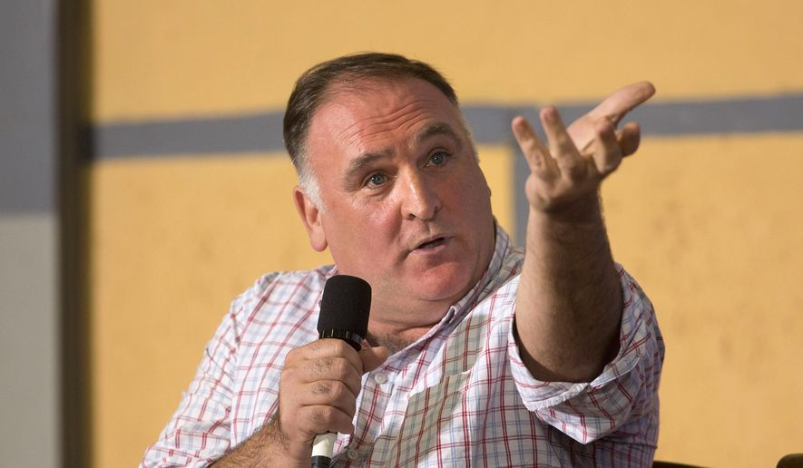 In this March 21, 2016, file photo Spanish-American chef Jose Andres answers questions during a panel discussion at an event on entrepreneurship at La Cerveceria, in Havana, Cuba. (AP Photo/Pablo Martinez Monsivais, File)
