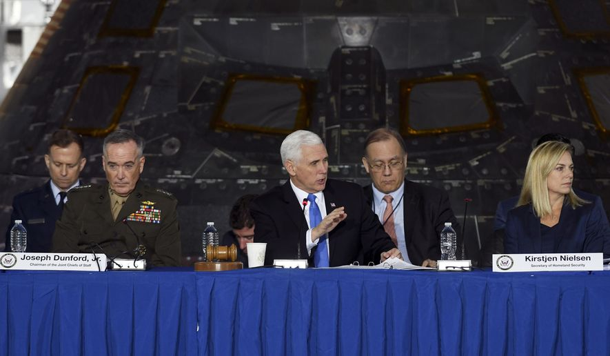 Vice President Mike Pence chairs a meeting of the National Space Council Wednesday, Feb. 21, 2018 at Kennedy Space Center in Cape Canaveral, Fla.  (Craig Bailey/Florida Today via AP)