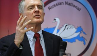 """FILE - In a March 22, 2015 file photo, U.S. writer Jared Taylor, author of the book """"White Identity"""" speaks during the International Russian Conservative Forum in St. Petersburg, Russia. Taylor is suing Twitter for banning his account amid the company's recent crackdown on content it deems abusive. He filed the lawsuit Tuesday, Feb. 20, 2018, in a San Francisco state court. Taylor joins a growing list of extreme right wing groups and figures suing social media sites for banning their accounts and content.(AP Photo/Dmitry Lovetsky, File)"""