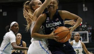Connecticut forward Azura Stevens (23) goes up against Tulane center Ksenija Madzarevic (34) during the first half of an NCAA college basketball game in New Orleans, Wednesday, Feb. 21, 2018. (AP Photo/Scott Threlkeld)