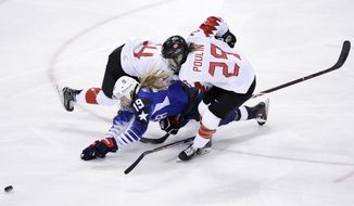 Gigi Marvin (19), of the United States, collides between Renata Fast (14), of Canada, and Marie-Philip Poulin (29), of Canada, during the first period of the women's gold medal hockey game at the 2018 Winter Olympics in Gangneung, South Korea, Thursday, Feb. 22, 2018. (AP Photo/Matt Slocum)