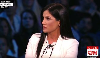 National Rifle Association spokeswoman Dana Loesch appears on CNN's town hall debate on guns, Feb. 21, 2018. (Image: CNN screenshot)